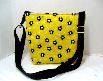 Cross Body Purse Floral - Black Flowers on Yellow Hip Bag - Padded Sling Bag - Long Adjustable Strap
