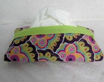 Quilted Tissue Holder Pocket Size Floral Groovy