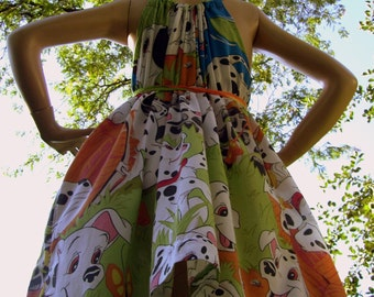 101 Dalmatians Dress Disney Sheet Sundress Dog Puppy Convertible Hippie Geek Sundress M L XL Adult