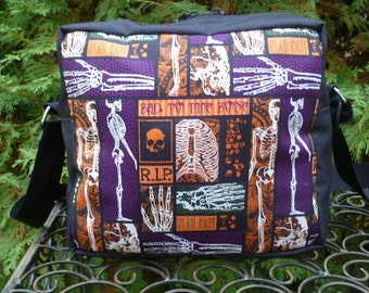 Skeleton zippered cross body bag, boxy purse, shoulder bag,  medium sized, Bad to the Bone, The Raccoon