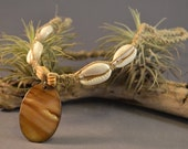 Shell Pendant Hemp Necklace with Cowrie Shells