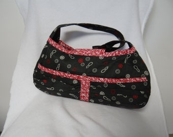 Shoulder Bag Purse Black/Gray/Red