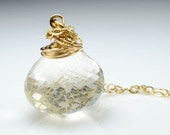 Golden Rutilated Quartz Faceted Onion Briolette Wire Wrap Necklace 14k Gold Fill