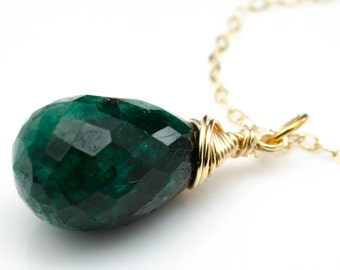 Emerald Gemstone 14k Gold Fill Necklace May Birthstone