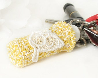 Keychain Lip Balm Cozy, Yellow & White Crochet Key Fob with Embroidery White Lace Dove Embellishment