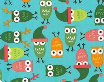 SALE Ann Kelle, Jingle 2, Holiday Owls in Vintage Fabric - Half Yard