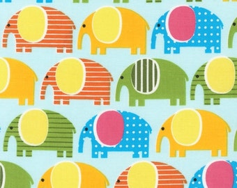 SALE Ann Kelle, Urban Zoologie, Elephants Spring Blue Fabric - Half Yard (Last One)