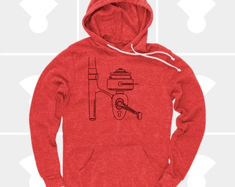 Fishing Shirt, Mens Fishing Pullover Hoodie, Fishing Gift, Fishing Reel Sweatshirt, Men's Clothes, Trout, Oregon, Alaska, Red, Fishing Rod