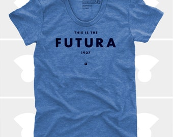 Futura Women's TShirt, Typography Shirt, Tee, Womens Top, S,M,L,Xl, Graphic Design, Type, Typography, Blue Shirt (4 Colors) TShirt for Women