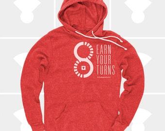 Snowboarding Skiing Shirt, Mountain Biking Hoodie, Racing, Men's Pullover Sweatshirt, Ski Gift, Gift for Men, Backcountry, Surf Gifts, Red