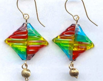 Gold-Fill Earrings with Hollow Blown Glass Pillow Beads