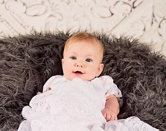 Long lace Christening Baptism Blessing gown hat or headband
