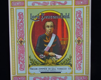 Original Vintage 1915 Lord Beaconsfield Plug Tobacco Caddy Lithograph Label