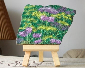Purple and Yellow Field Flowers On Stone With Easel, Painted Flowers On Stone, Stone Painting With Easel With Easel