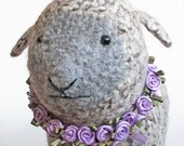 Felted Lamb. Knit Sheep Soft Sculpture. Stuffed Toy Animal Plushie With Lavender Rose Wreath. Wool Tweed Fiber Art