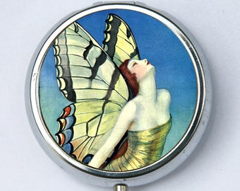 Art Deco Butterfly Women Pill Case pillbox holder box