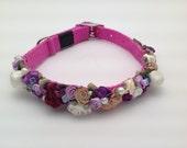Dog collar/ / custom/  bridal / fancy/ lilac / lavender/ swarovski / pearls