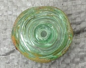 Pale Green Transparent Metallic Hollow Focal Bead - AmySmithGlass
