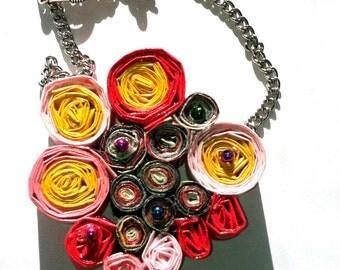 Multi-color unique paper necklace