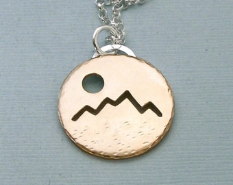 Hiker's Necklace - The Mountains Are Calling - 14K Gold Filled Pendant on Sterling Silver Chain
