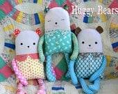 """Instant Download Huggy Bears Pattern for 16"""" or 18"""" Plush Bear Toy Doll DIY Sewing Tutorial"""