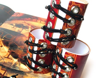 Leather Corset Cuff Bracelets, Handmade in Seattle from Reclaimed Leather Purse, EcoFriendly, OOAK