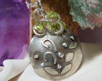 Peridot Pendant ~ Precious Metal Clay Focal Bead~ Fine Silver Lentil Bead ~ Wire Wrapped Pendant ~ Green Stone Pendant ~ Fine Silver Pendant