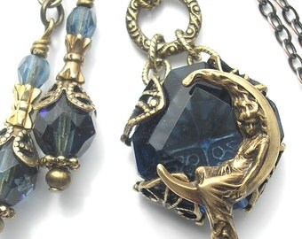 Montana Blue Glass Little Moon Goddess Pendant and Earring Set
