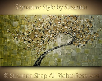 ORIGINAL Large Abstract Gold Olive Green Tree Painting Textured Modern Palette Knife Art by Susanna 48x24 Made2Order