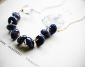 W H I S P E R S ... Labradorite and Clear Crystal on gold necklace Ooak