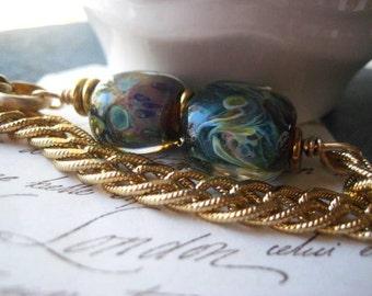 lampwork bracelet, blue glass, gold glass, beaded bracelet, vintage chain, hook clasp, artisan beads, candies64, womens  jewelry