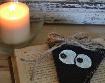 Halloween Googly Eyes Glow in the Dark Painted Burlap Banner