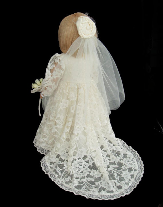 American girl doll clothes ivory lace wedding gown by for American girl wedding dress