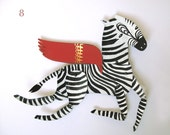 Ziggy the Zebra /  Horse Articulated Decoration  / Hinged Beasts Series