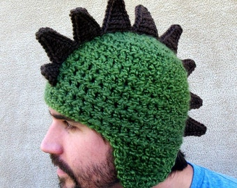 Crocheted Dragon Hat  // Dinosaur Hat, Rawr, Animal Hat, Olive Green, Fun Gift for Him, Costume for Grown - Ups