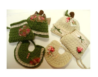 Apple Crochet Hat Pattern - Diaper Cover Soaker Pattern - Baby Bib Pattern No. 62 - KrissysWonders