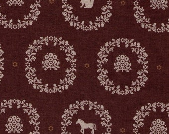 LAST HALF YARD Kokka Echino - Animal Wreaths on Brown - Japanese Imported Fabric
