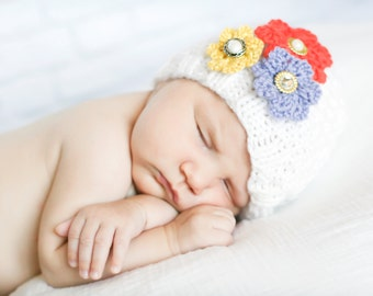 Sweet Blossoms Flower Beanie - Knitting PATTERN - pdf format for newborn, infant, toddler, child, teen and adult