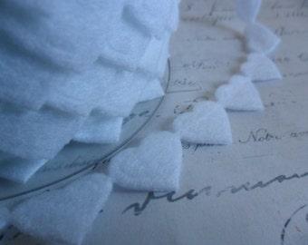 White Felt Heart Ribbon