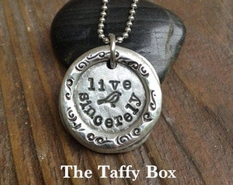 Live Sincerely Pewter Wax Seal Pendant Necklace