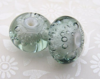 Lampwork Glass Beads Steel Grey Bubbles Pair