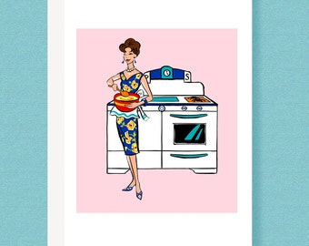 CARD:  Mid Century 50s greeting card, fashionista cooking, baking, pink, retro, kitchen, oven, stove