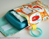 SALE Orange Boy Crazy - Diaper and Wipes Stroller Organizer - Link Loop Diaper Bag