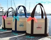 Personalized Bridesmaid Tote in Black Natural Canvas, Bridesmaid Gift, Bridesmaid Gift Tote with Ribbon Bow, Monogrammed Bridesmaid Tote