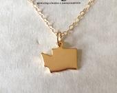 Washington  Necklace - Washington State Necklace - University of Washington - Washington Jewelry, Washington State Charm, Washington Huskies