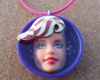SALE - Upcycled Purple Barbie Doll Pendant