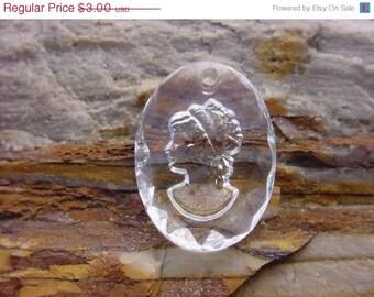 Petite Intaglio Lovely Girl Vintage Czech Glass Pendant