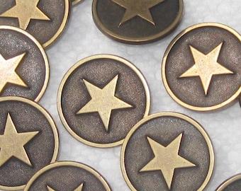 "Set 12 STAR Vintage Antiqued  BRASS MeTal New Buttons 7/8"""