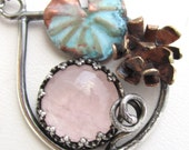 Rose Quartz and Water Lily Necklace - Copper and Brass Flower on Sterling SIlver