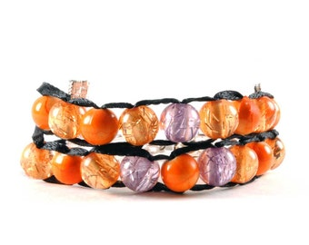Sunset Colors with Silver Clasp - Ablet Knitting Abacus - Row Counting Bracelet
